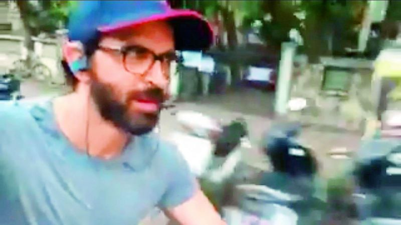 Hrithik shot his fitness video cycling without a helmet.