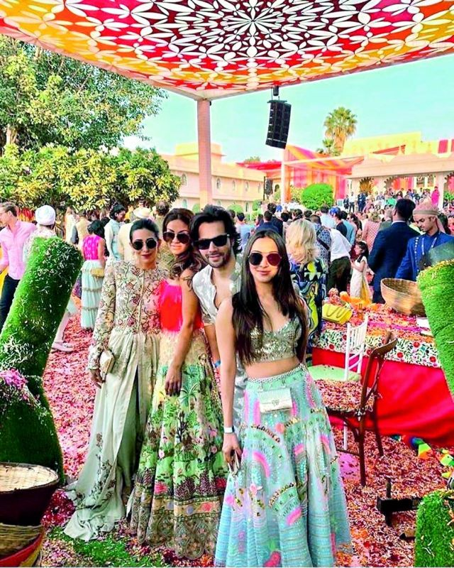 Karisma Kapoor, Varun Dhawan and Kiara Advani with a guest.