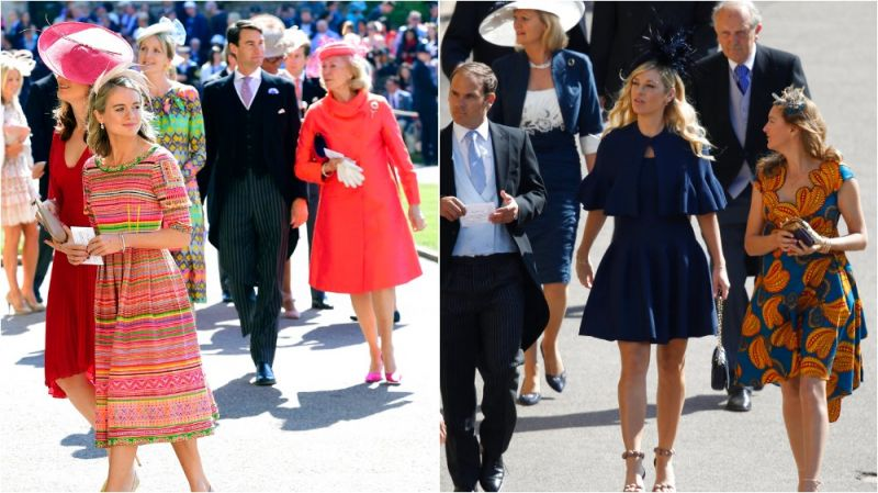 Harry's two most serious ex-girlfriends, Chelsy Davy and Cressida Bonas, were among the guests. (Photos: AP)