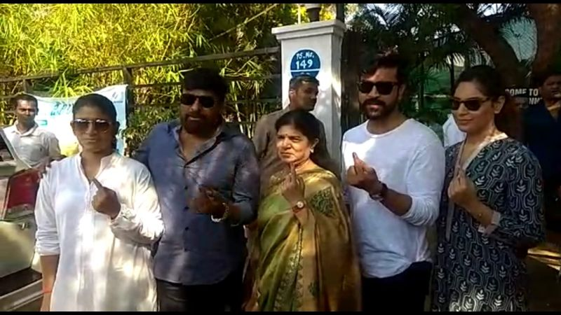 Megastar Chiranjeevi cast his vote with family. (Photo: ANI)