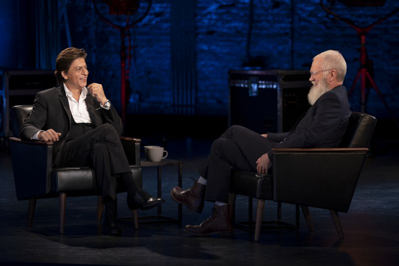 SRK with David Letterman on the show.