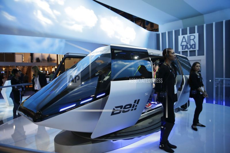 Bell Helicopter's autonomous air taxi concept is displayed at CES International.