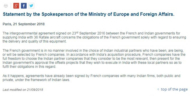 Former French President François Hollande stands by his statement on Rafale deal