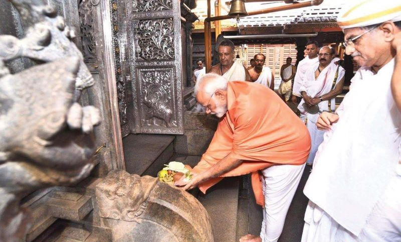 The PM at Sri Manjunatheswara Temple at Dharmasthala earlier in the day   (Photo: DC)