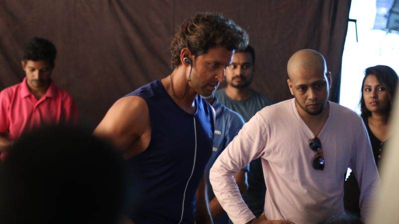 Hrithik during the shoot of the fitness video