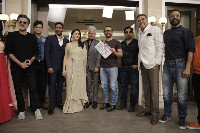Reliving '90s: Aamir joins Ajay, Madhuri, Anil as they kick off Total Dhaamal shoot