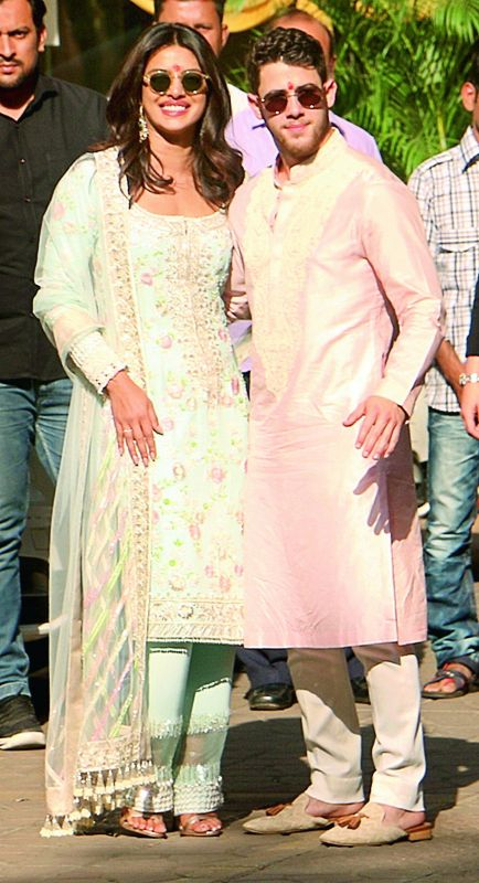 Priyanka Chopra picked up matching outfits for herself and her husband, Nick Jonas, for their pre-wedding puja ceremony