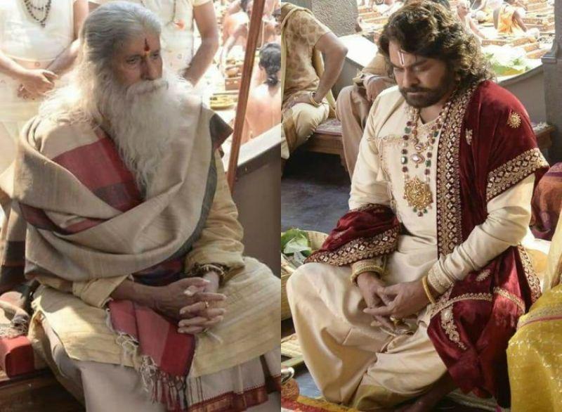 Amitabh Bachchan and Chiranjeevi in Sye Raa Narasimha Reddy.