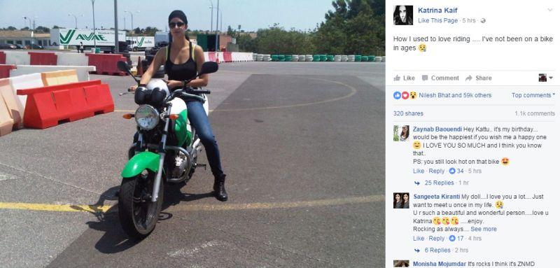 Katrina Kaif on bike