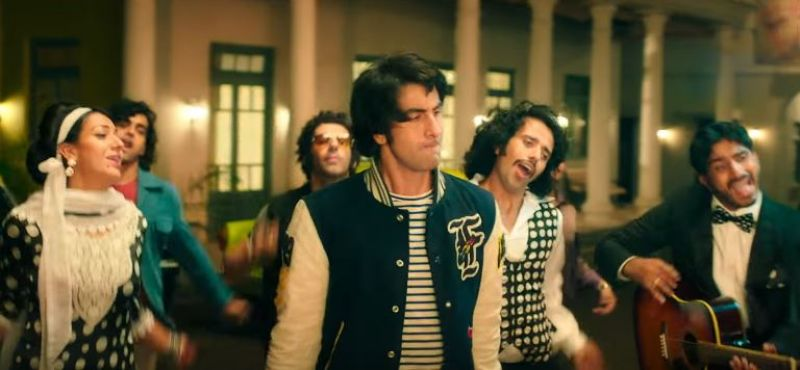 Jim Sarbh in 'Sanju' song 'Badhiya'. (behind Ranbir Kapoor)