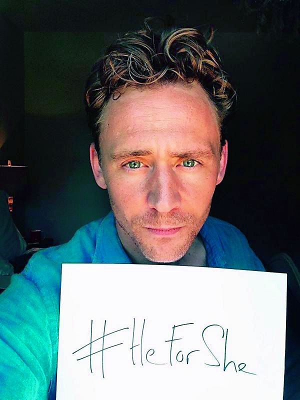Actor Tom Hiddleston supports actress Emma Watson's #HeForShe campaign.