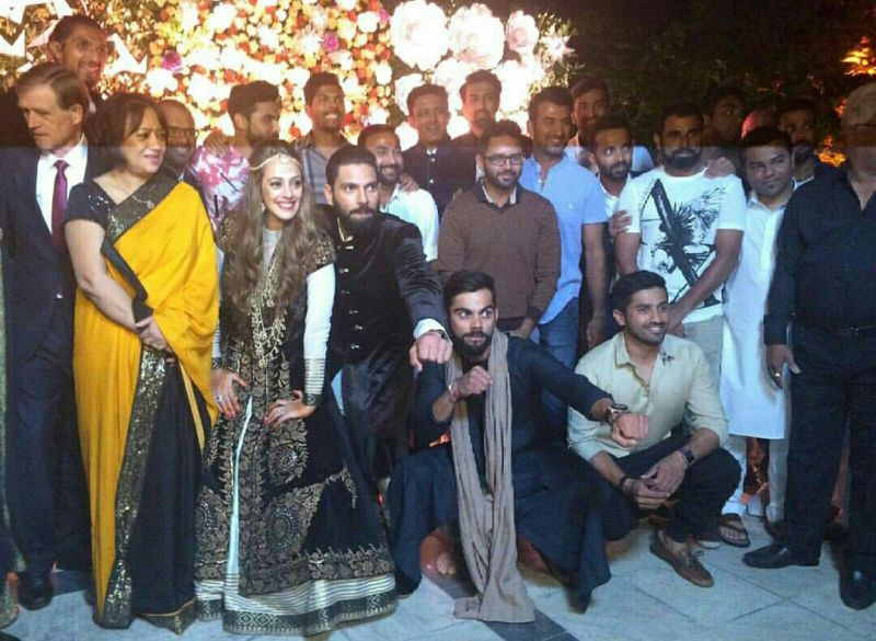 Virat Kohli and Co attended the pre-wedding ceremony of Yuvraj Singh and Hazel Keech in Mohali on Tuesday. (Photo: ViratFanTeam Twitter)