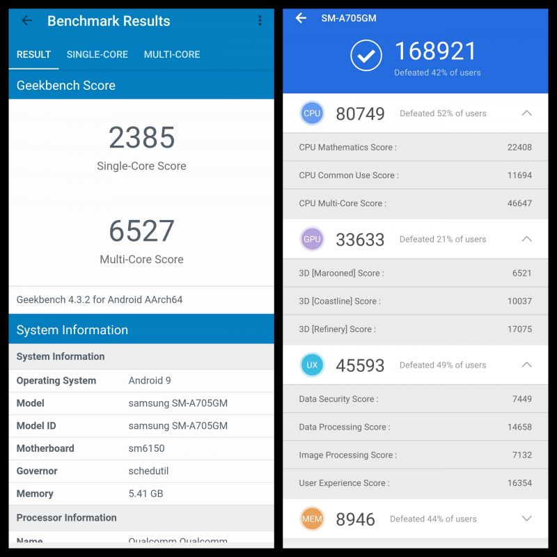 Samsung Galaxy A70 screenshots
