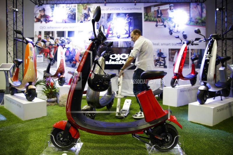 OjO electric smart scooters are on display at CES International in Las Vegas.