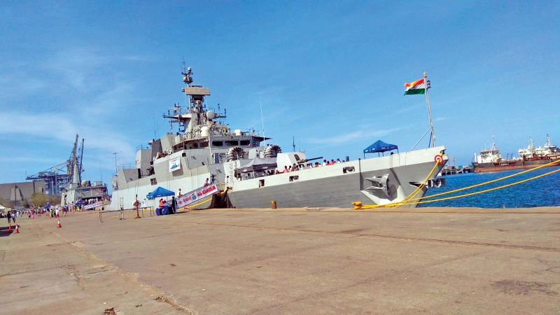 The Indian Navy warship docked at Chennai port remains a cynosure of all eyes. (Photo:DC)