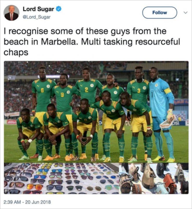 269300607 FIFA World Cup 2018   Racist  Alan Sugar tweet can inspire Senegal ...