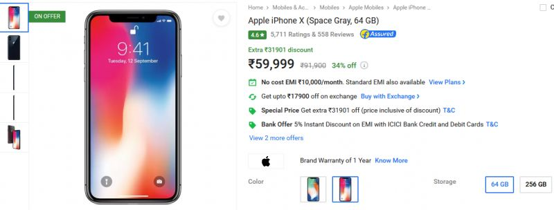 iPhone X discount