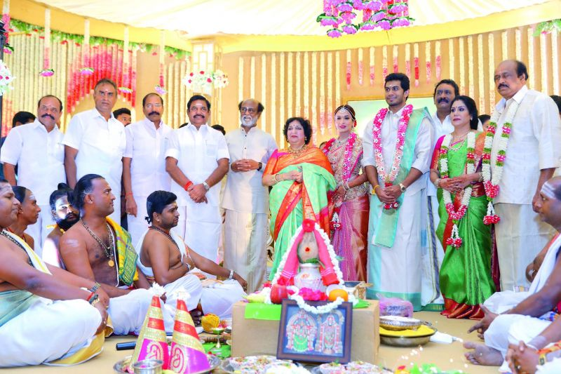 Tamil Nadu CM Edappadi Palanisamy and other ministers at the wedding.