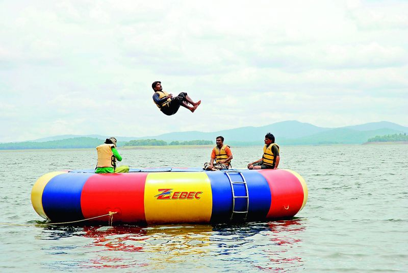 What a leap! (trampoling in Bhadra reservoir in Karnataka)