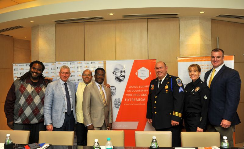 (L-R) Ashanti Branch, Ever Forward-100k Masks, Charlie Allen, Melbournce PD, Mandar Apte, Executive Director of From India With Love, Mayor Smith Joseph. City of North Miami, Brett Parson,  Washington DC Police, Julinony, North Miami & Lawrence Juriga , Chief of Police, City of North Miami.