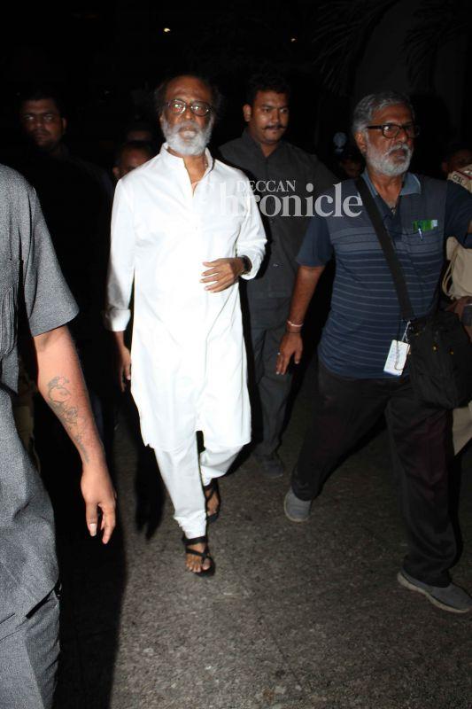 Amid talk of his political career, Rajinikanth arrives in Mumbai to shoot for Kaala