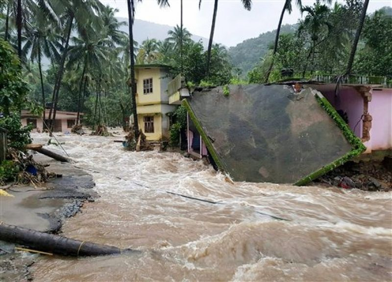 Roof of a house collapses following a flash flood, triggered by heavy rains, at Kodencheri in Kozhikode district of Kerala. (Photo: PTI)