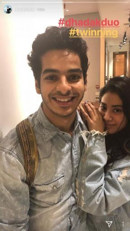 Ishaan Khatter and Janhvi Kapoor twin on 'Dhadak' sets.