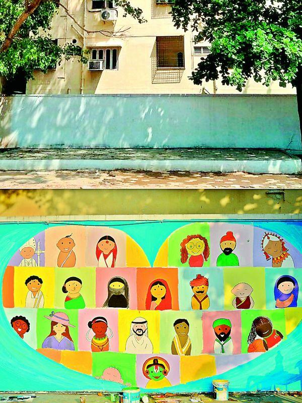 The walls of the Sanghi Vidya Niketan School in Hyderabad after the artistic transformation done by Akanksha and Surbhi Agarwal