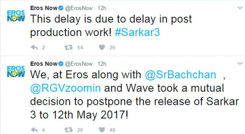 Curse of April 7? After Jagga Jasoos, now Sarkar 3 almost postponed