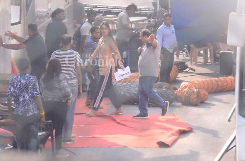 Katrina Kaif snapped on the sets of 'Zero'.