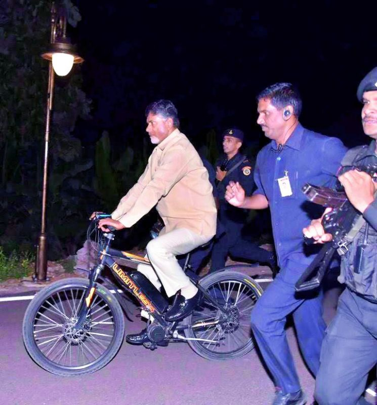 The cycle is not only Chandrababu Naidu's party symbol but also his favoured medium to  keep fit