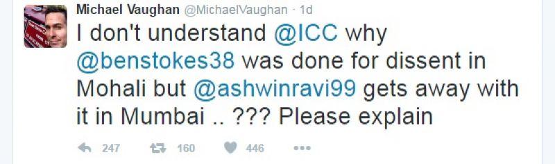 Michael Vaughan's tweet questioning ICC. (Photo: Michael Vaughan Tweet)