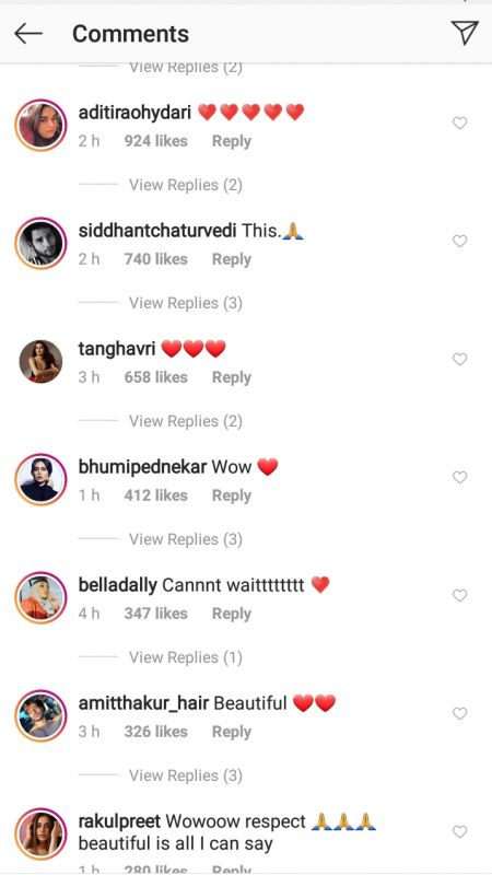 Screenshot of Deepika Padukone's Instagram post's comments