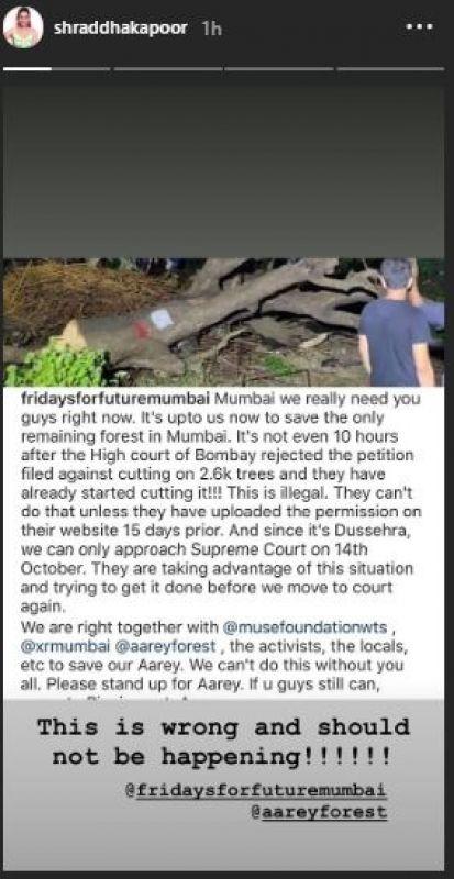 Shraddha Kapoor's Instagram story.