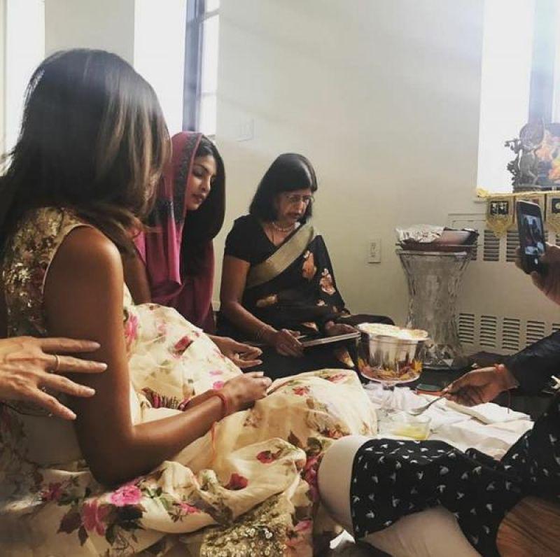 Priyanka doing Diwali pooja at her NYC home.