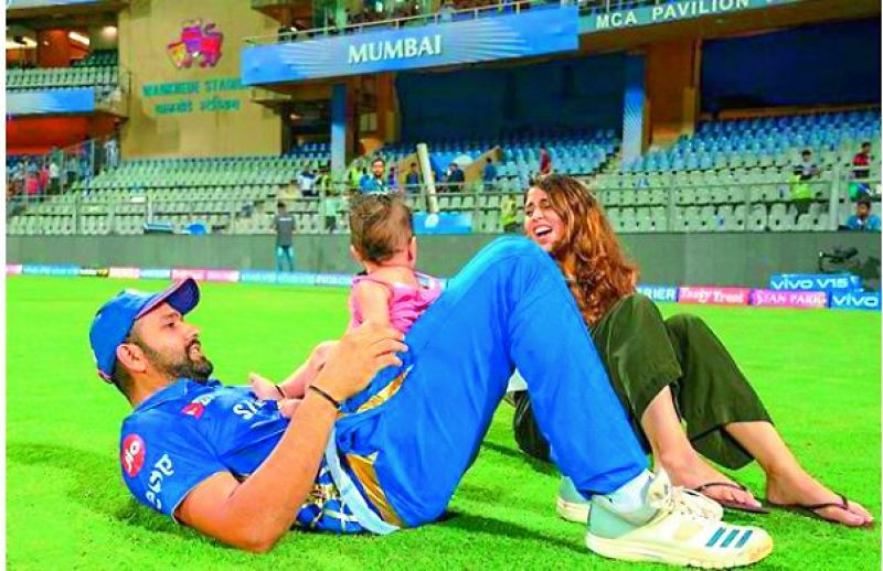Rohit sharma with his daughter