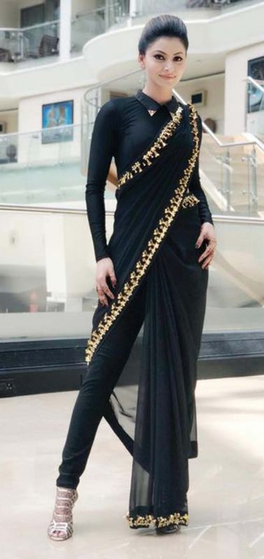 4d2614c193 Actress Urvashi Rautela slays in black pant-saree.