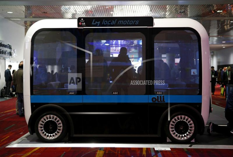 The Olli autonomous concept bus is on display during CES International.