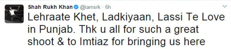 Shah Rukh is loving Punjab's 'Lehraate Khet, Ladkiyaan, Lassi Te Love'