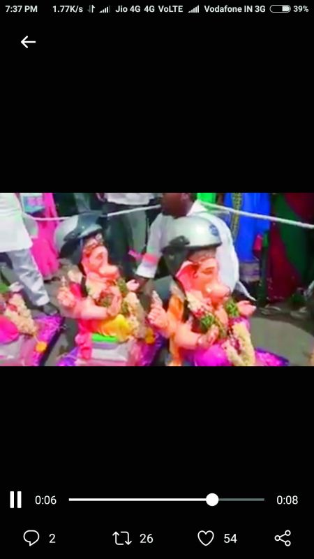 A few Ganesh idols were made to wear helmets to educate people about the importance of safe driving.