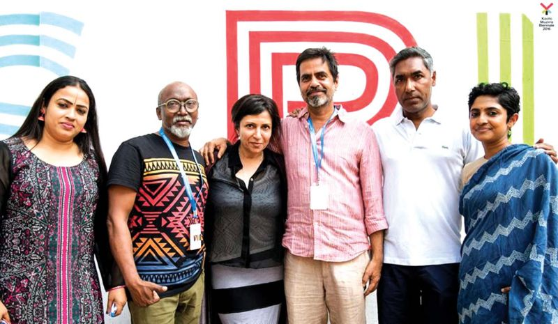 Asha (third from left), with Treessa Jaifer, Bose Krishnamachari, Sudarshan Shetty, V. Sunil and Manju Sara Rajan.