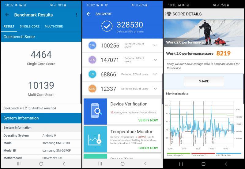 Samsung Galaxy S10e screenshots