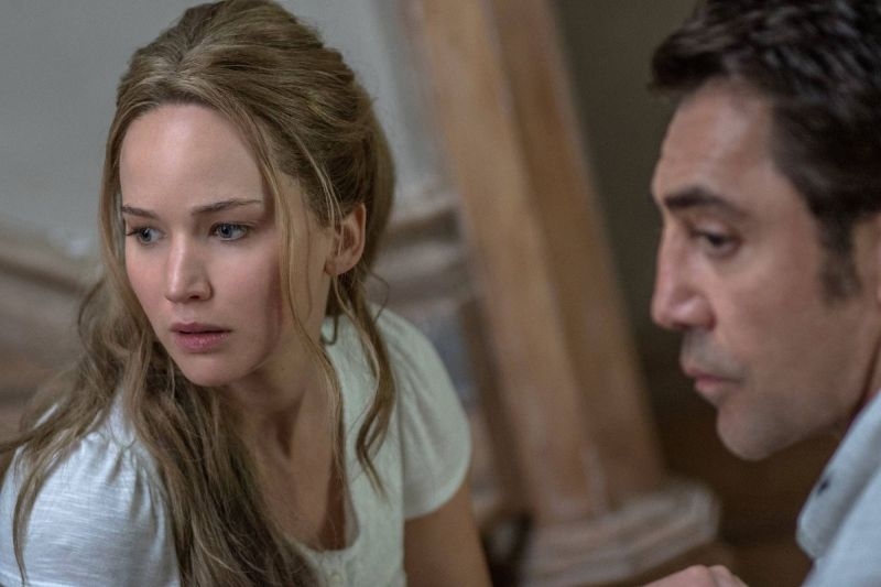 Jennifer Lawrenece and Javier Bardem in the still from Mother!
