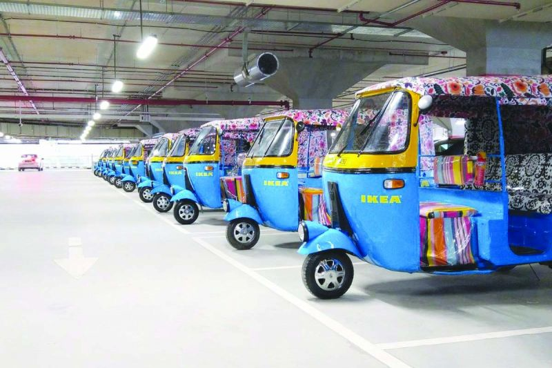 Autos painted with Ikea's signature colours blue and yellow