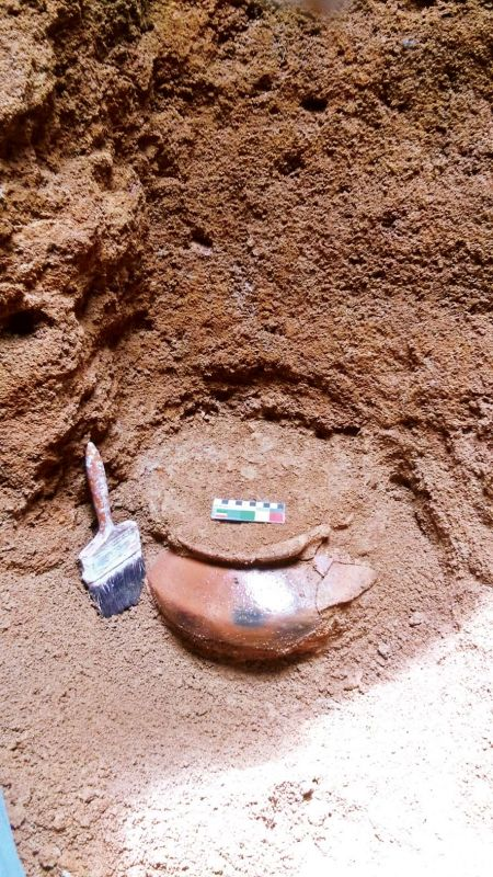 The pot found inside the cave.