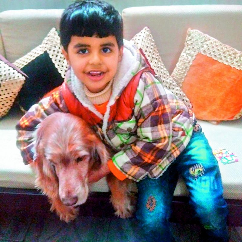 Kavita's five year old son Abhijeet Singh Tomar