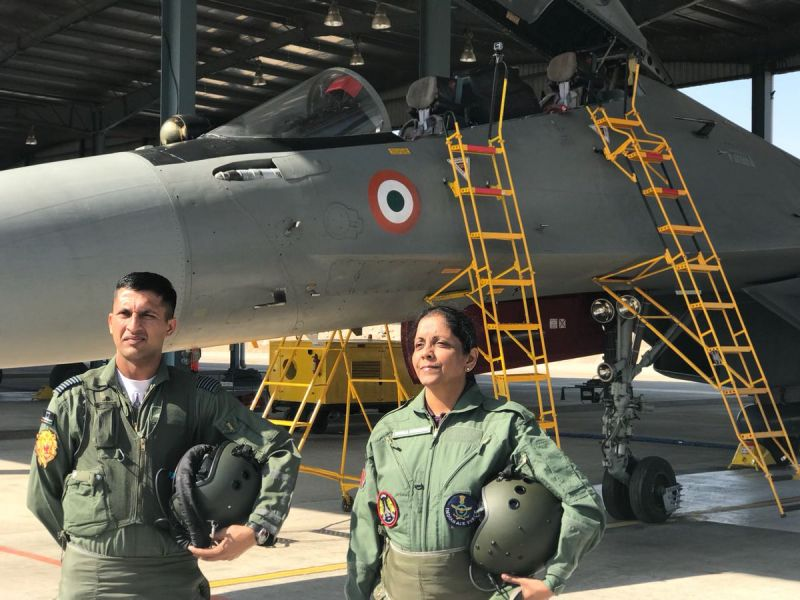 Defence Minister Nirmala Sitharaman in flying G-Suit before taking off in SU 30MKI. (Photo: ANI)