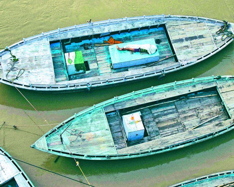 No business at Ganga ghat Varanasi