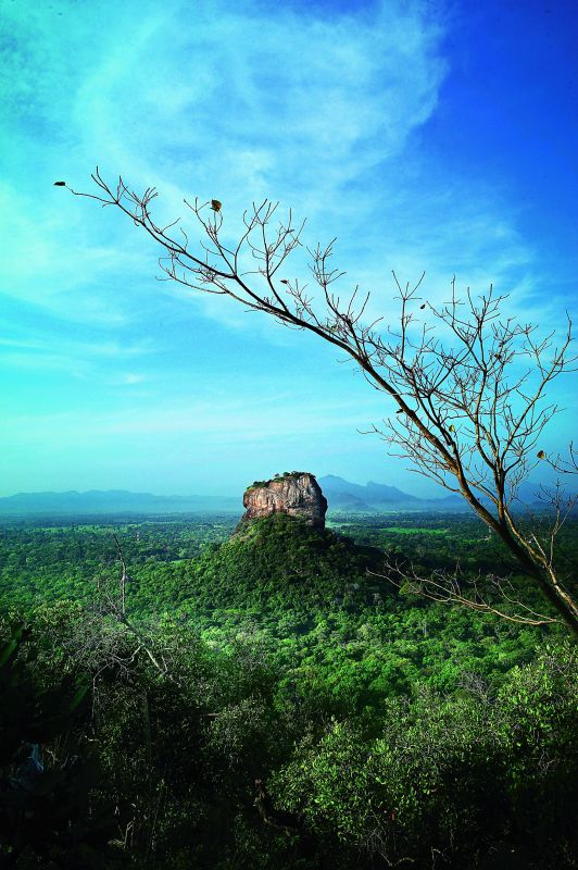 Sigiria Rock shot from another rock named Pidurangala in Sri Lanka.