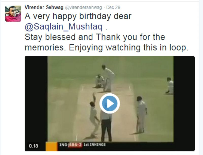 Virender Sehwag reminded Saqlain Mushtaq off that famous six of his to bring up his first triple hundred in Test cricket. (Photo: Screengrab)